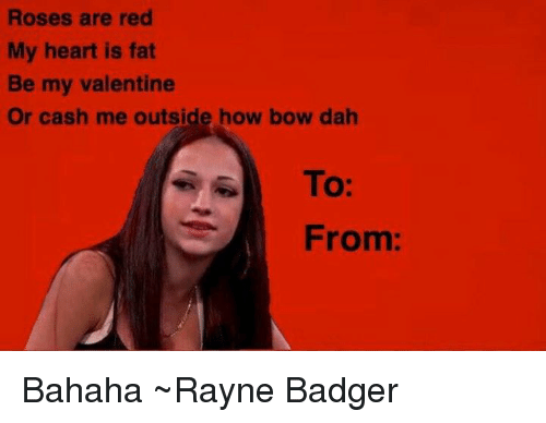 Memes, 🤖, and Badger: Roses are red  My heart is fat  Be my valentine  Or cash me outside how bow dah  To:  From Bahaha ~Rayne Badger