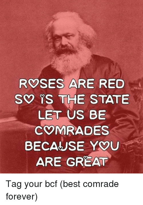 Best, Forever, and The State: ROSES ARE RED  S YS THE STATE  LET US BE  COMRADES  BECAUSE YOU  ARE GREAT Tag your bcf (best comrade forever)