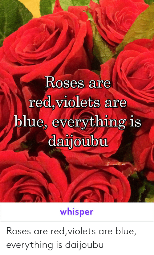 Roses Are Redviolets Are Blue Everything Is Daijoubu Whisper