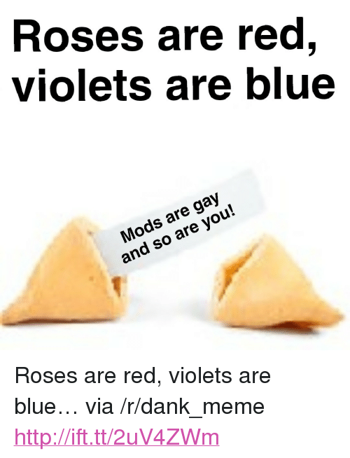 """Dank, Meme, and Blue: Roses are red,  violets are blue  Mods are gay  and so are you! <p>Roses are red, violets are blue… via /r/dank_meme <a href=""""http://ift.tt/2uV4ZWm"""">http://ift.tt/2uV4ZWm</a></p>"""