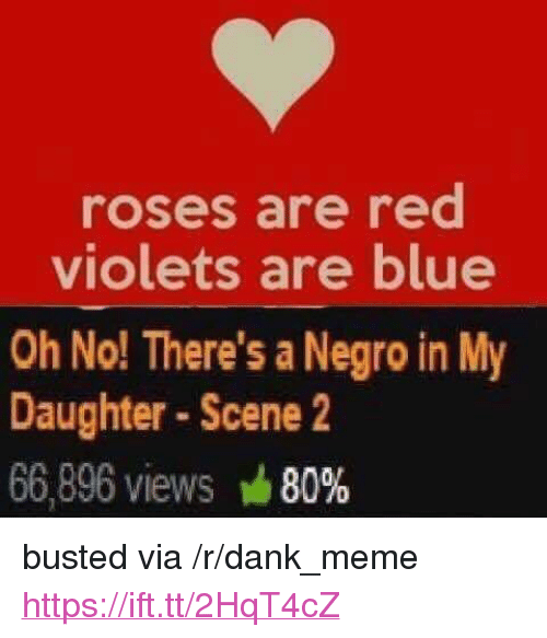 "Dank, Meme, and Blue: roses are red  violets are blue  Oh No! There's a Negro in My  Daughter Scene 2  66,896 views 80% <p>busted via /r/dank_meme <a href=""https://ift.tt/2HqT4cZ"">https://ift.tt/2HqT4cZ</a></p>"