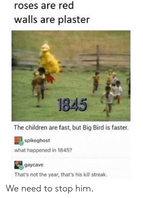 Children, Dank, and Big Bird: roses are red  walls are plaster  1845  The children are fast, but Big Bird is faster.  spikeghost  what happened in 1845  gaycave  That's not the year, that's his kill streak. We need to stop him.