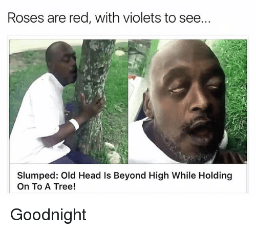 Roses Are Red With Violets To See Slumped Old Head Is Beyond High