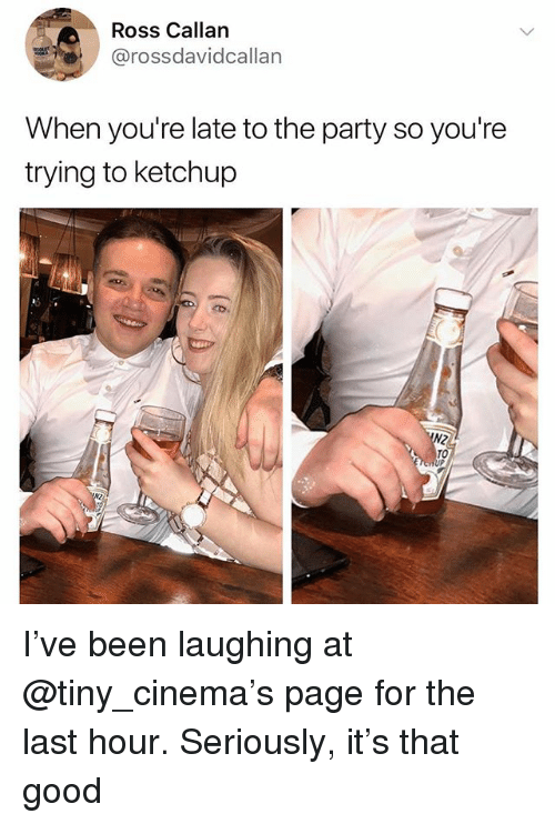 Party, Good, and Dank Memes: Ross Callan  @rossdavidcallan  When you're late to the party so you're  trying to ketchup  TO I've been laughing at @tiny_cinema's page for the last hour. Seriously, it's that good