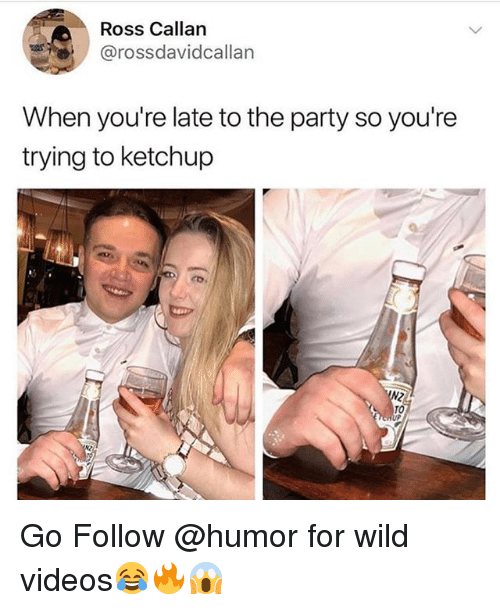 Funny, Party, and Videos: Ross Callan  @rossdavidcallan  When you're late to the party so you're  trying to ketchup Go Follow @humor for wild videos😂🔥😱
