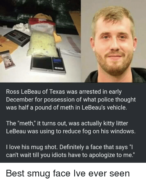 "Definitely, Love, and Police: Ross LeBeau of Texas was arrested in early  December for possession of what police thought  was half a pound of meth in LeBeau's vehicle.  The ""meth,"" it turns out, was actually kitty litter  LeBeau was using to reduce fog on his windows.  I love his mug shot. Definitely a face that says ""I  can't wait till you idiots have to apologize to me."" Best smug face Ive ever seen"