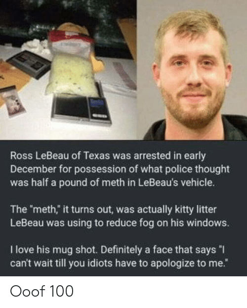 "Anaconda, Definitely, and Love: Ross LeBeau of Texas was arrested in early  December for possession of what police thought  was half a pound of meth in LeBeau's vehicle.  The meth,"" it turns out, was actually kitty litter  LeBeau was using to reduce fog on his windows.  I love his mug shot. Definitely a face that says ""I  can't wait till you idiots have to apologize to me."" Ooof 100"