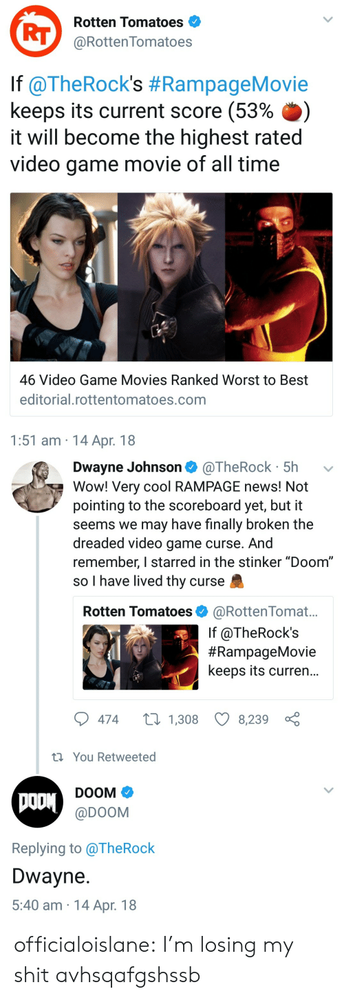 "Dwayne Johnson, Movies, and News: Rotten Tomatoes  RT@RottenTomatoes  lf @TheRock's #RampageMovie  keeps its current score (53% .)  it will become the highest rated  video game movie of all time  46 Video Game Movies Ranked Worst to Best  editorial.rottentomatoes.com  1:51 am 14 Apr. 18   Dwayne Johnson @TheRock 5h  Wow! Very cool RAMPAGE news! Not  pointing to the scoreboard yet, but it  seems we may have finally broken the  dreaded video game curse. And  remember, I starred in the stinker ""Doom""  so I have lived thy curse  Rotten Tomatoes @RottenTomat...  If @TheRock's  #RampageMovie  keeps its curren...  474  1,308 8,239  th You Retweeted  DOOM  @DOOM  Replying to alheRock  Dwayne  5:40 am 14 Apr. 18 officialoislane:  I'm losing my shit avhsqafgshssb"