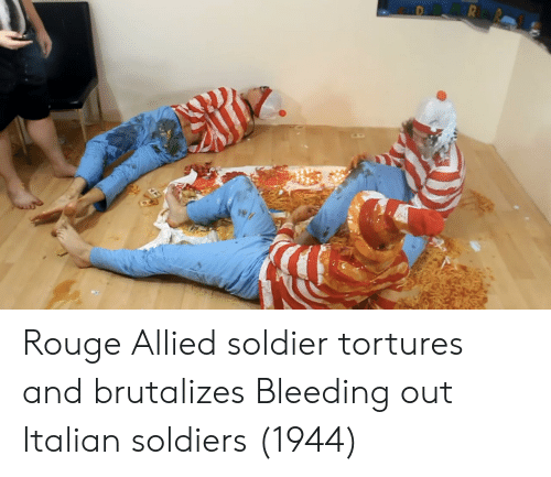 Soldiers, Soldier, and Italian: Rouge Allied soldier tortures and brutalizes Bleeding out Italian soldiers (1944)