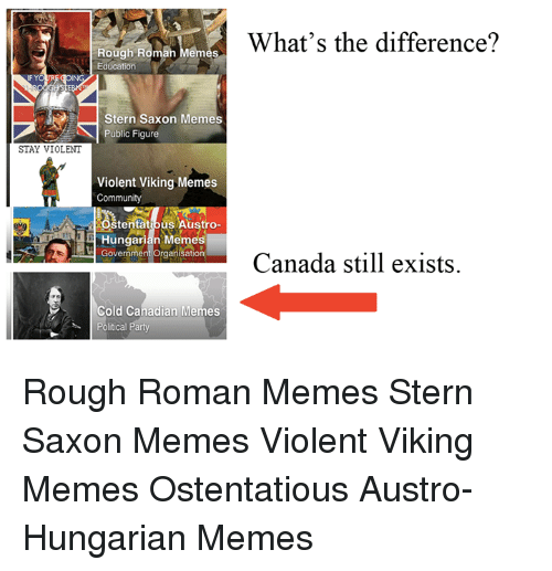 Community, Meme, and Memes: Rough Roman Memes  Education  Stern Saxon Memes  Public Figure  STAY VIOLENT  Violent Viking Memes  Community  Stentath us Austro-  Government organkation  Cold Canadian Memes  Political Party  What's the difference?  Canada still exists Rough Roman Memes Stern Saxon Memes Violent Viking Memes Ostentatious Austro-Hungarian Memes
