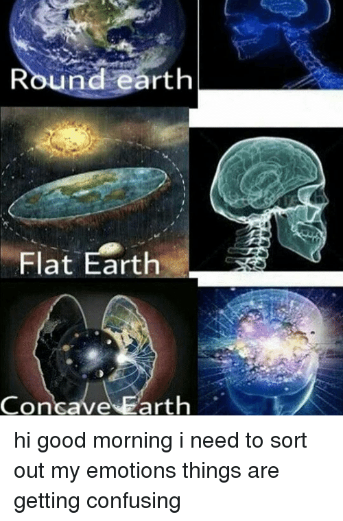 Memes, Good Morning, and Earth: Round earth  Flat Earth  Concave  arth hi good morning i need to sort out my emotions things are getting confusing