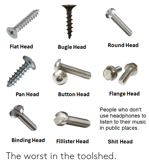Head, Music, and Shit: Round Head  Flat Head  Bugle Head  Flange Head  Pan Head  Button Head  People who don't  use headphones to  listen to their music  in public places  Binding Head  Fillister Head  Shit Head The worst in the toolshed.