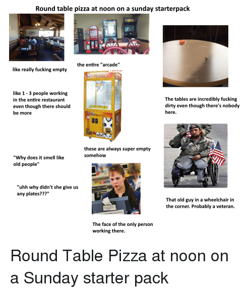 Round Table Pizza Job.Round Table Pizza At Noon On A Sunday Starterpack The Entire Arcade