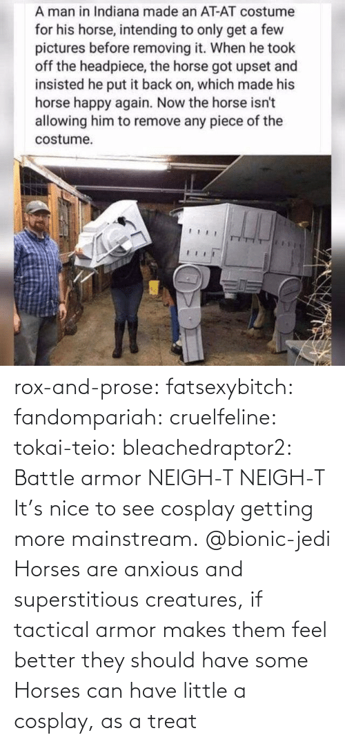 Horses, Jedi, and Tumblr: rox-and-prose:  fatsexybitch:   fandompariah:  cruelfeline:  tokai-teio:  bleachedraptor2: Battle armor    NEIGH-T  NEIGH-T    It's nice to see cosplay getting more mainstream.    @bionic-jedi     Horses are anxious and superstitious creatures, if tactical armor makes them feel better they should have some    Horses can have little a cosplay, as a treat