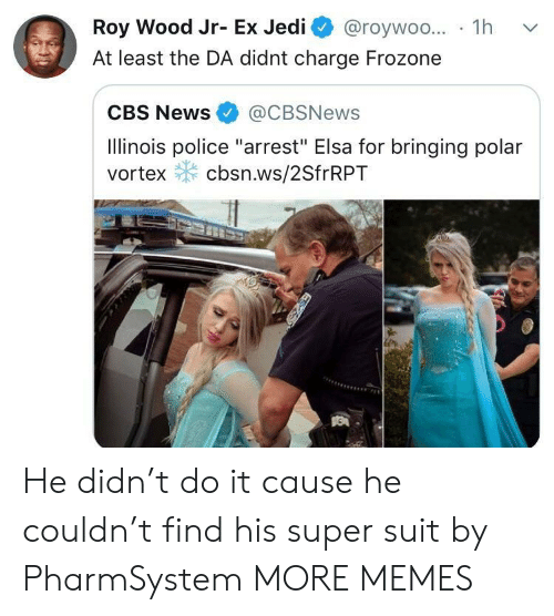 """Dank, Elsa, and Frozone: Roy Wood Jr- Ex Jedi @roywoo... 1h v  At least the DA didnt charge Frozone  CBS News@CBSNews  Ilinois police """"arrest"""" Elsa for bringing polar  vortex cbsn.ws/2SfrRPT He didn't do it cause he couldn't find his super suit by PharmSystem MORE MEMES"""