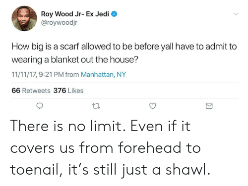 Jedi, Covers, and House: Roy Wood Jr- Ex Jedi  @roywoodjr  How big is a scarf allowed to be before yall have to admit to  wearing a blanket out the house?  11/11/17, 9:21 PM from Manhattan, NY  66 Retweets 376 Likes There is no limit. Even if it covers us from forehead to toenail, it's still just a shawl.