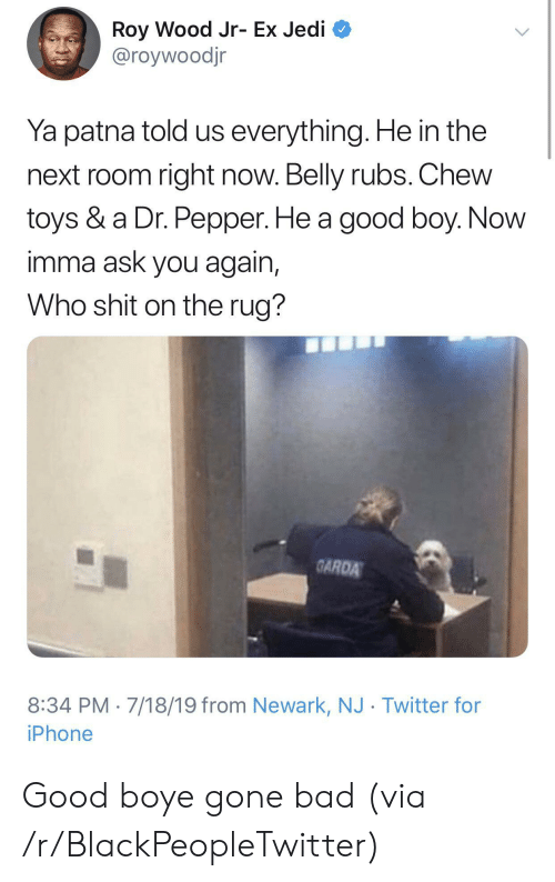 Bad, Blackpeopletwitter, and Iphone: Roy Wood Jr- Ex Jedi  @roywoodjr  Ya patna told us everything. He in the  next room right now. Belly rubs. Chew  toys & a Dr. Pepper. He a good boy. Now  imma ask you again,  Who shit on the rug?  GARDA  8:34 PM 7/18/19 from Newark, NJ Twitter for  iPhone Good boye gone bad (via /r/BlackPeopleTwitter)