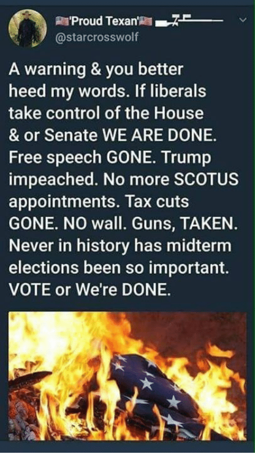 Guns, Memes, and Taken: R'Proud Texan7  @starcrosswolf  A warning & you better  heed my words. If liberals  take control of the House  & or Senate WE ARE DONE.  Free speech GONE. Trump  impeached. No more SCOTUS  appointments. Tax cuts  GONE. NO wall. Guns, TAKEN.  Never in history has midterm  elections been so important.  VOTE or We're DONE.