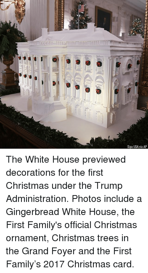 Christmas, Family, and Memes: rS  Sipa USA via AP The White House previewed decorations for the first Christmas under the Trump Administration. Photos include a Gingerbread White House, the First Family's official Christmas ornament, Christmas trees in the Grand Foyer and the First Family's 2017 Christmas card.