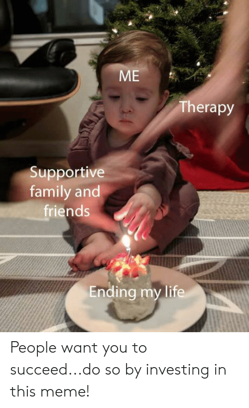 Family, Friends, and Life: rs  Therapy  Supportive  family and  friends  Ending my life People want you to succeed...do so by investing in this meme!