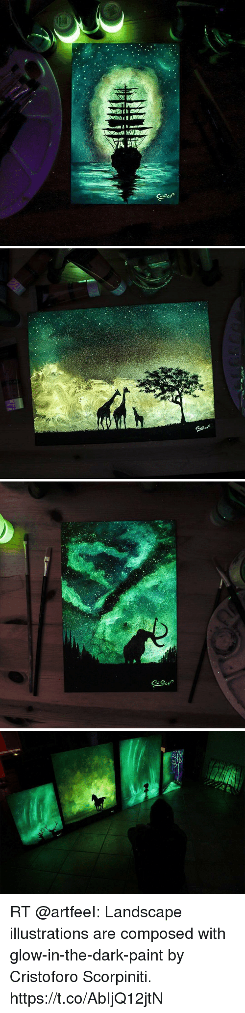 Memes, Paint, and 🤖: RT @artfeeI: Landscape illustrations are composed with glow-in-the-dark-paint by Cristoforo Scorpiniti. https://t.co/AbIjQ12jtN