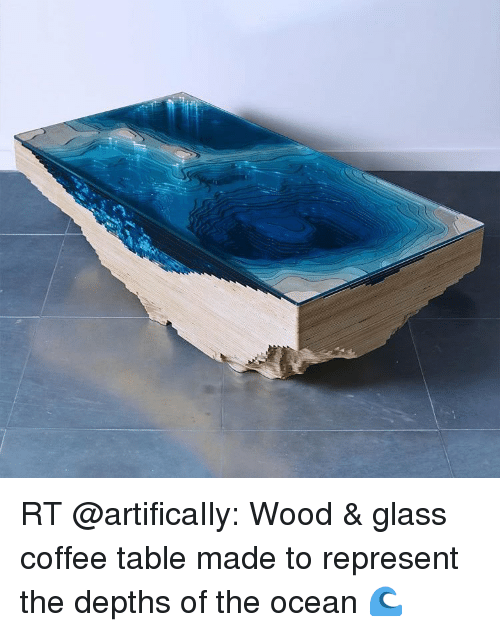 RT Wood Amp Glass Coffee Table Made To Represent The Depths Of The - Coffee table depth