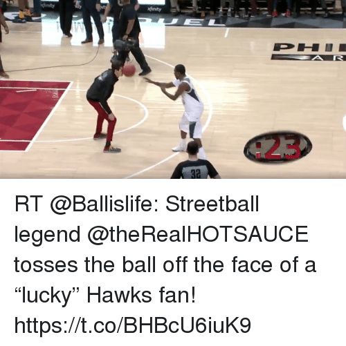 "Memes, Hawks, and 🤖: RT @Ballislife: Streetball legend @theRealHOTSAUCE tosses the ball off the face of a ""lucky"" Hawks fan!  https://t.co/BHBcU6iuK9"