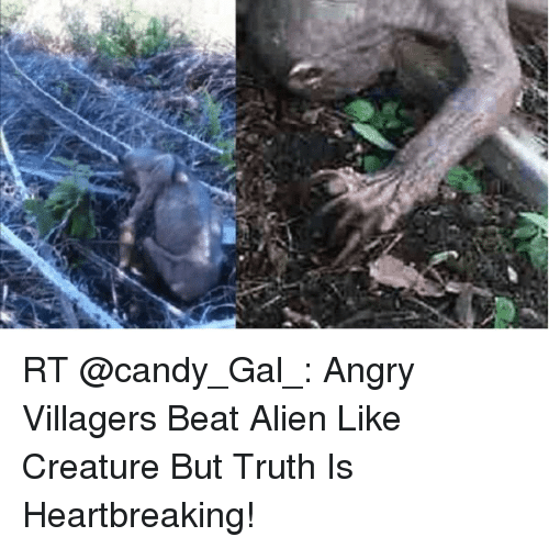 Candy, Alien, and Angry: RT @candy_Gal_: Angry Villagers Beat Alien Like Creature But Truth Is Heartbreaking!
