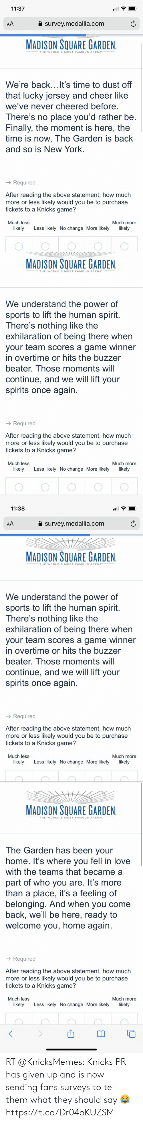 New York Knicks, New York Knicks, and Them: RT @KnicksMemes: Knicks PR has given up and is now sending fans surveys to tell them what they should say 😂 https://t.co/Dr04oKUZSM