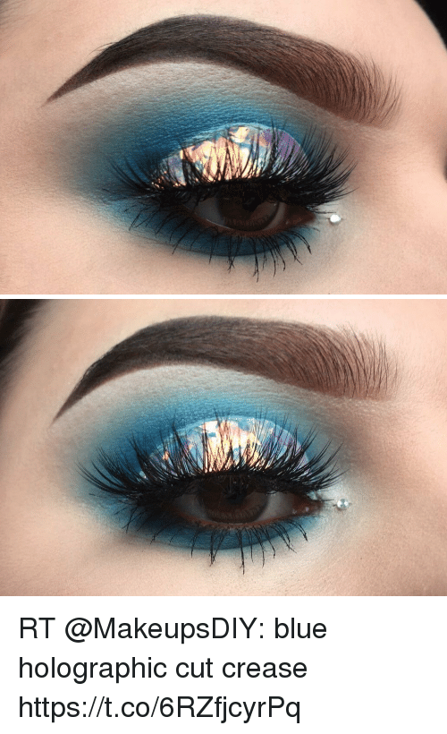 Cut Crease Makeup: RT Blue Holographic Cut Crease Httpstco6RZfjcyrPq