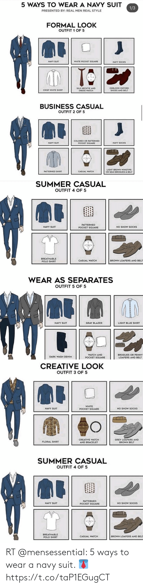 Memes, Navy, and 🤖: RT @mensessentiaI: 5 ways to wear a navy suit. 👔 https://t.co/taP1EGugCT