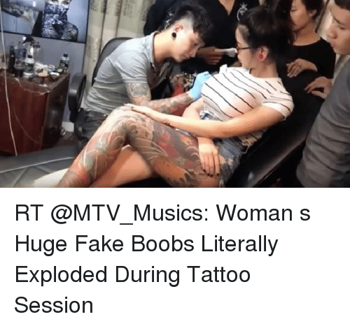 Womans boobs exslode during a tattoo