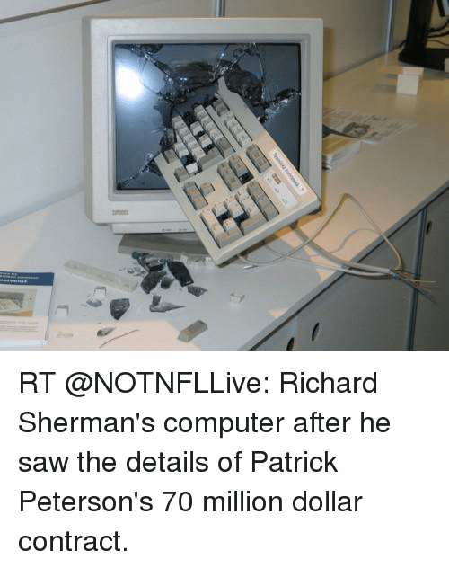 Rt Richard Shermans Computer After He Saw The Details Of Patrick