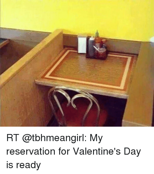 Memes, Valentine's Day, and 🤖: RT @tbhmeangirl: My reservation for Valentine's Day is ready