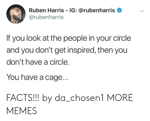 Dank, Facts, and Memes: Ruben Harris IG: @rubenharris  @rubenharris  If you look at the people in your circle  and you don't get inspired, then you  don't have a circle.  You have a cage FACTS!!! by da_chosen1 MORE MEMES