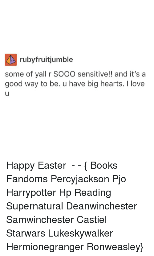 Books, Easter, and Love: ruby fruit jumble  some of yall r SOOO sensitive!! and it's a  good way to be. u have big hearts. love Happy Easter ● - - { Books Fandoms Percyjackson Pjo Harrypotter Hp Reading Supernatural Deanwinchester Samwinchester Castiel Starwars Lukeskywalker Hermionegranger Ronweasley}