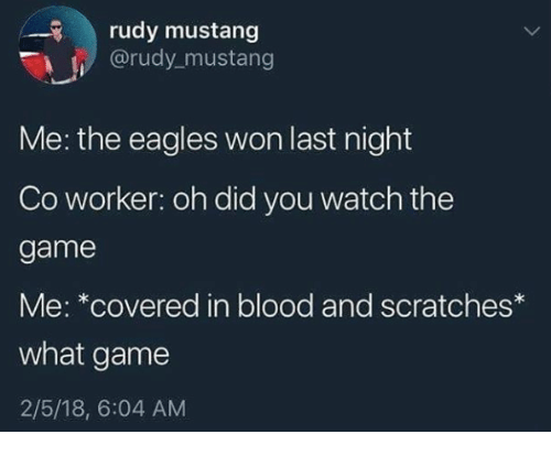 Philadelphia Eagles, The Game, and Game: rudy mustang  @rudy mustang  Me: the eagles won last night  Co worker: oh did you watch the  game  Me: *covered in blood and scratches  what game  2/5/18, 6:04 AM