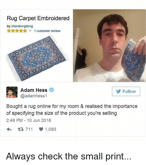 Memes Rugs And Reviews Rug Carpet Embroidered By Chendongdong 1 Customer Review Adam