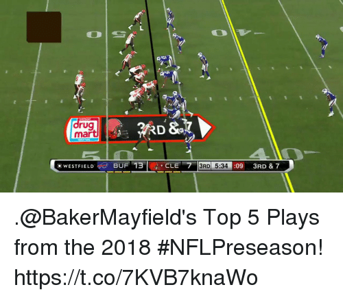 Memes, 🤖, and Top: rug  mart  WESTFIELDU 3 & 7  BUF 13CLE 7  3RD 5:34:09 3R  5:34 : .@BakerMayfield's Top 5 Plays from the 2018 #NFLPreseason! https://t.co/7KVB7knaWo
