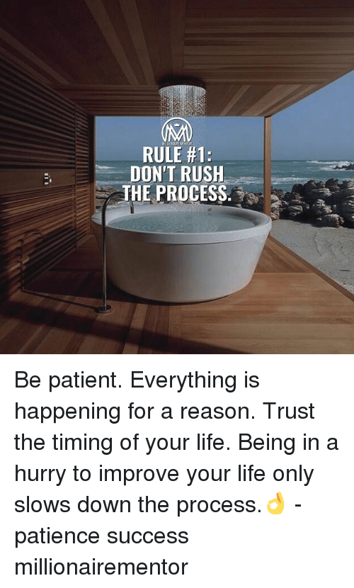 Life, Memes, and Patience: RULE #1:  DON'T RUSH  THE PROCESS Be patient. Everything is happening for a reason. Trust the timing of your life. Being in a hurry to improve your life only slows down the process.👌 - patience success millionairementor