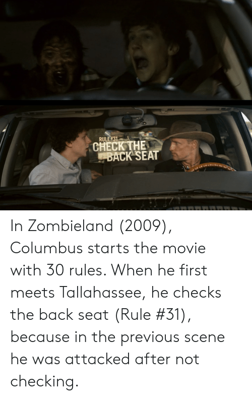 Rule 31 Check The Back Seat In Zombieland 2009 Columbus Starts The