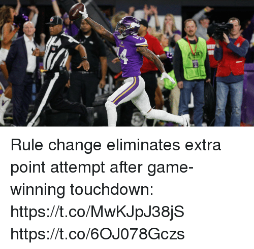 Memes, Game, and Change: Rule change eliminates extra point attempt after game-winning touchdown: https://t.co/MwKJpJ38jS https://t.co/6OJ078Gczs