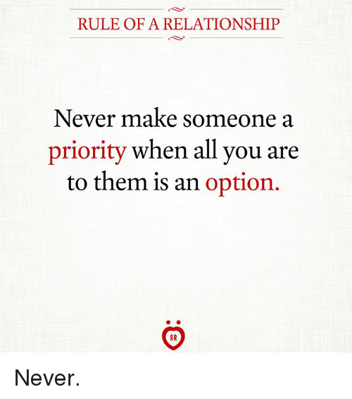 Never, Them, and All: RULE OF A RELATIONSHIP  Never make someone a  priority when all you are  to them is an option Never.