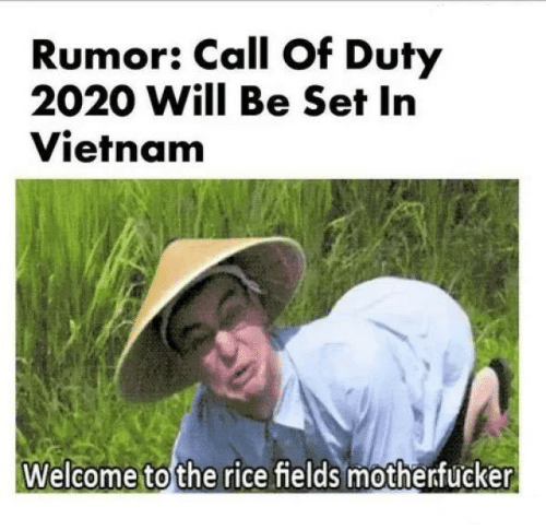 Call of Duty, Vietnam, and Rice: Rumor: Call Of Duty  2020 Will Be Set In  Vietnam  Welcome to the rice fields motherfucker