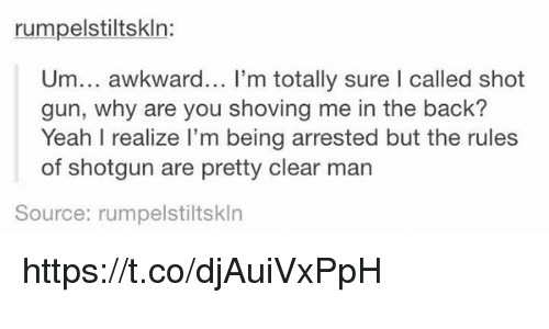 Guns, Memes, and Yeah: rumpelstiltskln:  Um... awkward... I'm totally sure I called shot  gun, why are you shoving me in the back?  Yeah I realize I'm being arrested but the rules  of shotgun are pretty clear man  Source: rumpelstiltskln https://t.co/djAuiVxPpH