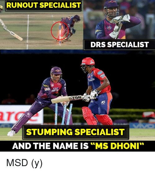 """Memes, 🤖, and Dhoni: RUNOUT SPECIALIST  DRS SPECIALIST  ANON  STUMPING SPECIALIST  AND THE NAME IS MS DHONI"""" MSD (y)"""