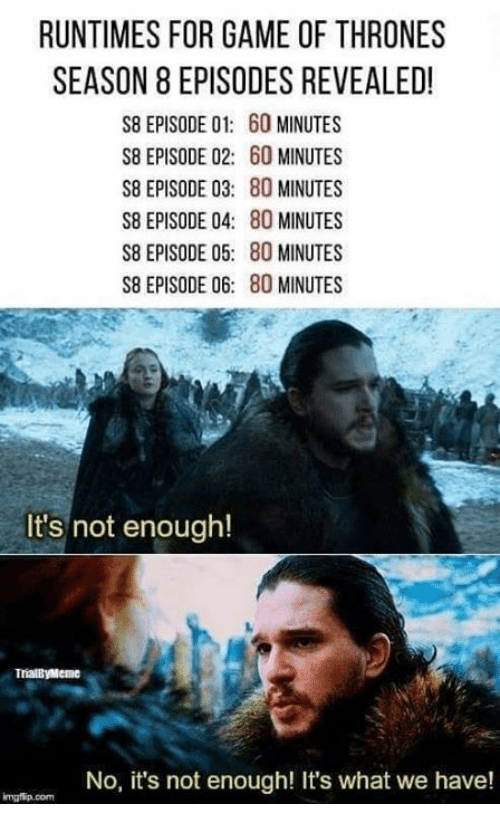 Runtimes For Game Of Thrones Season 8 Episodes Revealed S8 Episode