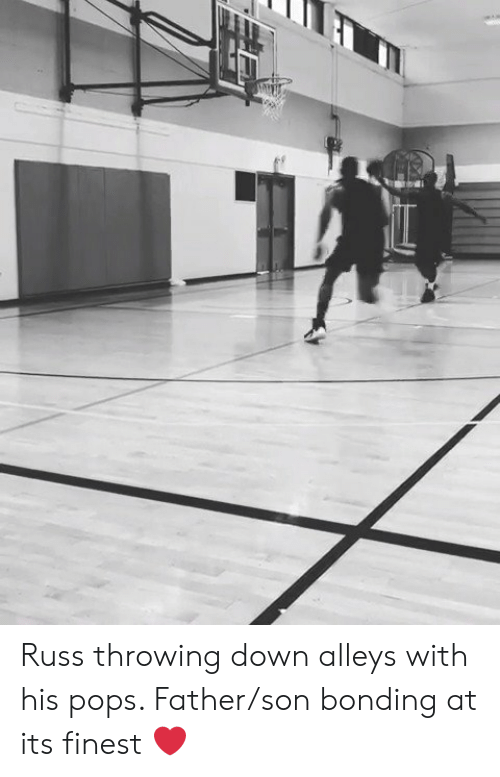 Down, Son, and Pops: Russ throwing down alleys with his pops. Father/son bonding at its finest ❤️