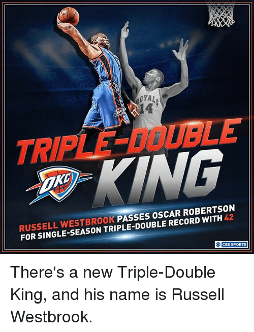 Memes, Russell Westbrook, and Sports: RUSSELL WESTBROOK  PASSES OSCAR ROBERTSON  RECORD FOR SINGLE CBS SPORTS There's a new Triple-Double King, and his name is Russell Westbrook.