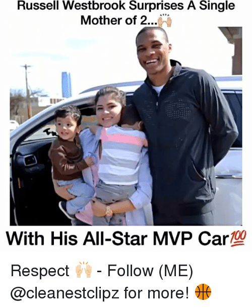 All Star, Memes, and Russell Westbrook: Russell Westbrook Surprises A Single  Mother of 2  100  With His All-Star MVP Car Respect 🙌🏼 - Follow (ME) @cleanestclipz for more! 🏀